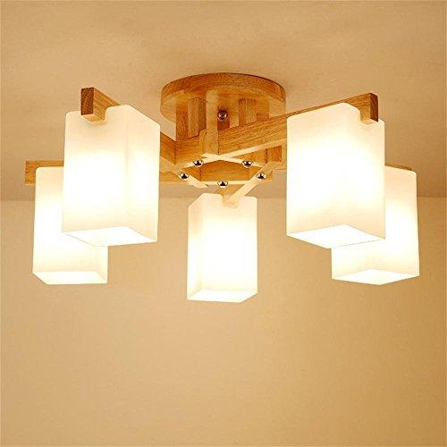 HOMEE Deckenleuchte-skandinavisch modern minimalistisch Holz chinesisch Holz Lampe Deckenleuchte Wohnzimmer Restaurant Schlafzimmer Deckenleuchte, Form optional --home warme Deckenleuchte (Form: 3),5 (Baum-form-kaffee-tische)