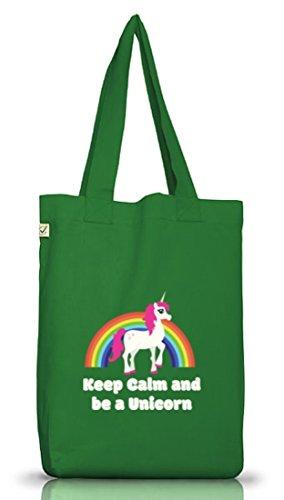Einhorn Jutebeutel Stoffbeutel Earth Positive mit Rainbow - Keep Calm And Be A Unicorn Motiv Moss Green