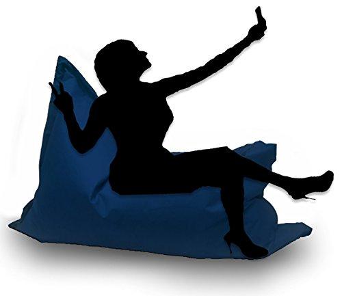 Sitzsack XL 145 x 100 cm mit Füllung - Farbe & Größe Wählbar- In & Outdoor Sitzsäcke Sessel Kissen Sofa Hocker Sitzkissen Bodenkissen (ca.145x100cm, Marine/Blau)