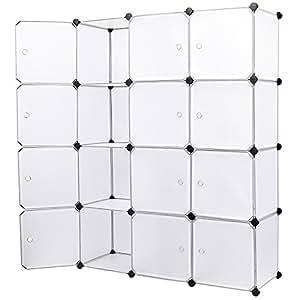 Songmics Armoire Penderie Cubes Etagère Modulables Plastiques Cadre en Métal Blanc LPC34W