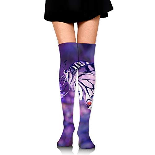 rouxf Knielange Socken Lavendel Schmetterling Malen Über Kalb Kniehohe Socken Wintermode Kleid Socke 65 cm Länge -