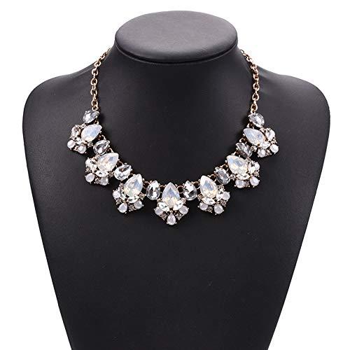 J.Memi.FA Halskette mit Legierung Elegant Anhänger, Strass Edelstein Schmuck Set Classic Geschenk für Frauen Mädchen Valentinstag,White