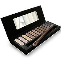 Paleta de sombras de ojos - 12 color Paleta de ojos profesional - Altamente pigmentado para Mate Naked Natural Nude Metallic o Smokey Maquillaje de Ojo - Duo GRATIS Sombra de Ojos Cepillo y guía paso a paso para maquillaje de maquillaje de ojos incluido