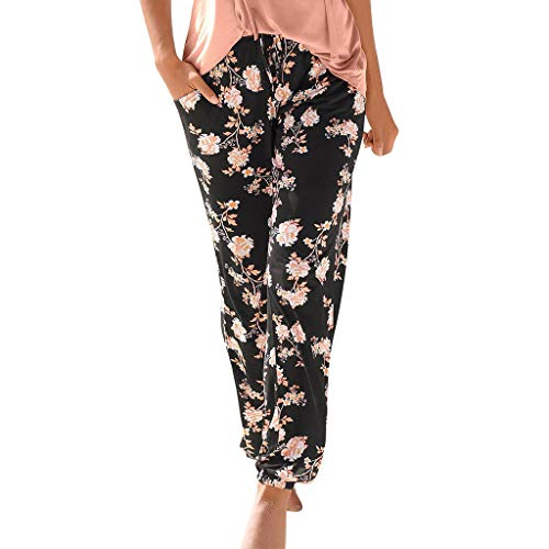 MOTOCO Frauen Hosen elastisch Bedruckt konisch Harem hohe Taille reguläre Hosen Harem Hosen Hippie Hosen Yoga für Frauen & Herren(XL,Schwarz-1)