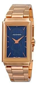 Azzaro Hommes AZ2061.52EM.000 Legand rectangulaire PVD rose avec cadran bleu
