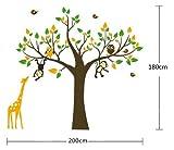 WallStickersDecal Affe, Giraffe & Eule spielen auf Baum Wandtattoo Wandaufkleber 180cm(H)(große)