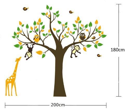 Scimmia, giraffa e gufo che giocano su albero Adesivo Wall Sticker 180 centimetri (H)