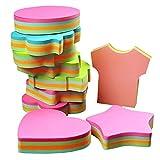 Pense-bêtes, autocollants auto-adhésifs autocollants amovibles - 6 plaquettes par paquet - 100 feuilles par Pad -Per Pad 4 couleurs - Paquet 6 formes différentes à l'intérieur-76mm x 76 mm ...