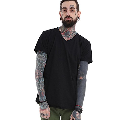 Malloom Männer V-Ausschnitt Casual Sport Aktiv Hip-Hop Street Solid Color T-Shirt (L, schwarz)