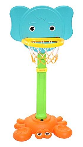 Clamaro 'DUNKIFANT' 2in1 Kinder Basketballkorb und Ringwurfspiel mit Ständer, höhenverstellbarer Basketballständer, Outdoor im Garten oder Indoor im Kinderzimmer, inkl. 5 Ringe, Ballpumpe und Ball