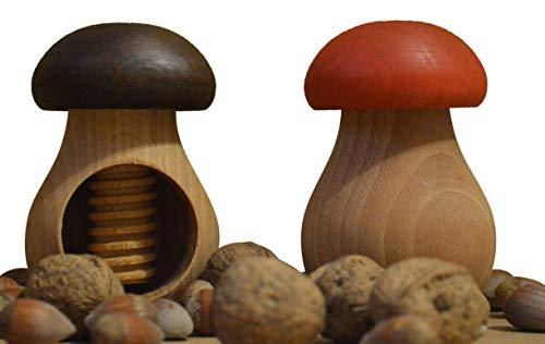 Wooden World Nussknacker-Set, Braun und Rot, aus natürlichem Buchenholz, sehr massiver Pilz