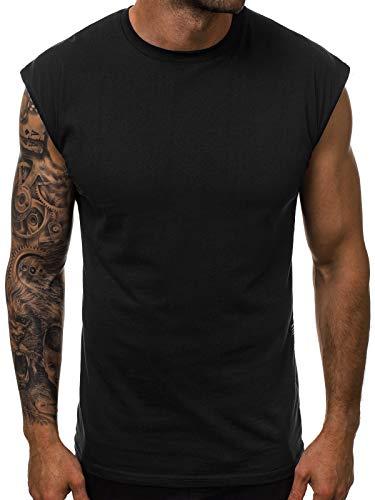 OZONEE Herren Tanktop Tank Top Tankshirt T-Shirt Unterhemden Ärmellos Muskelshirt Sport O/1265 SCHWARZ XL
