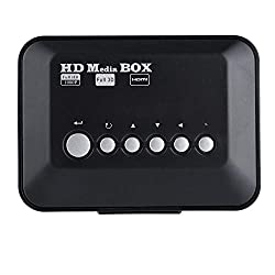 Richer-R Mini Full HD 1080P Media Player, Tragbar Digital Multi TV Mediaplayer 1080P Media Player Box,Media Player MKV/H.264 mit HDMI Video Audio/IR-Fernbedienung,Für 2TB Externe Festplatte (EU)