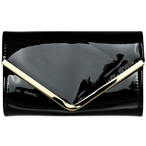 CASPAR TA376 stylisch elegante Damen Envelope Metallic Lack Clutch Tasche / Abendtasche mit langer Kette, Farbe:schwarz;Größe:One (Lack Handtasche Schwarze)