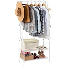 LANGRIA 2-Tier Entrance Hall Coat Rack Organiser Metal Multi-Purpose Storage Shoe Bench Stand with Top Rod 4 Hooks for Home Office Hallway Bedroom Max Load Capacity 30kg/66.1lbs, White