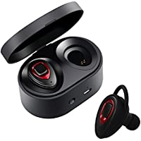 Auriculares inalámbricos Bluetooth - Mini auriculares inalámbricos Bluetooth Efecto estéreo XIAOWU con micrófono incorporado y base de carga para iPhone 8, 7 Plus, Samsung, iPad, dispositivos Android (K5S-red)