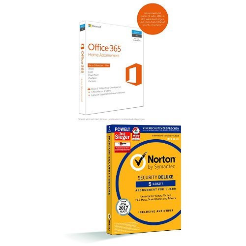 Microsoft Office 365 Home | 5 Geräte  + Symantec Norton Security Deluxe |5 Geräte