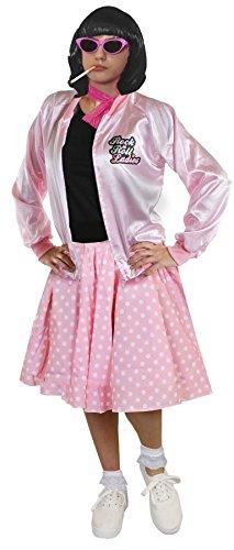 DELUXE = ROSA RETRO MUSIKAL KOSTÜM SET = 1950S/1960S STIL = ROSA ROCK&ROLL JACKE + ROSA POLKA DOT ROCK MIT WEISSEN PUNKTEN + WEISSEN KURZEN SOCKEN + ROSA SPITZEN SCHLEIFE (Size Plus Kostüm Buddy Holly)