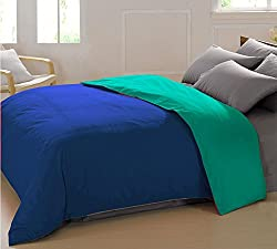 AURAVE Reversible Style Solid Plain Marine Blue & Aqua Green Cotton Duvet Cover/ Quilt Cover -Single Size (Gift Wrapped)