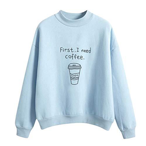 Samt Kostüm Gefütterter - GreatestPAK Plus Samt Sweatshirt Damen O-Ausschnitt Volltonfarbe Kaffeetassenmuster Langarm Pullover,Blau,M