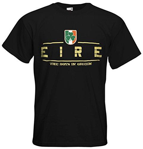 Irland Eire EM 2016 Fanshirt T-Shirt Trikot (Schwarz, XL)