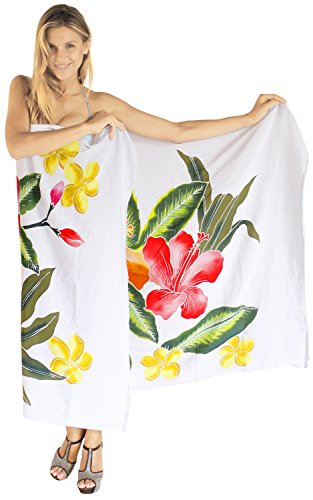 La Leela coverup Hand malen Rayon Hibiskus Sarong Frauen Bikini 78x43inch weiß (Kleid Sarong Hibiskus)