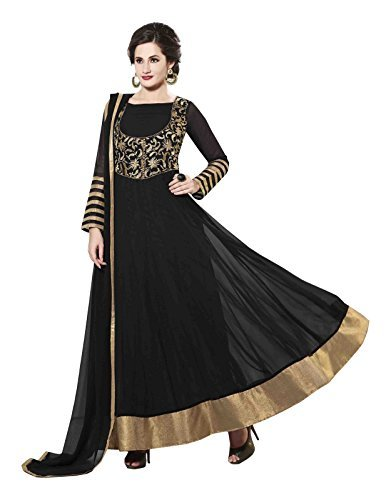 Stylish Fashion New Designer Black Embroidered Floor Length Anarkali suit  available at amazon for Rs.1199