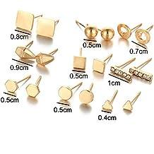 47609990667f ZHWM Pendientes De clip Aros 9 Pairs Set Pendientes De Cristal Brincos  Geométrico Piercing Color