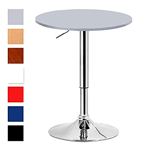 Woltu BT02sb Sliver Grey Breakfast Bistro Bar Table for Kitchen with Round 600mm Diameter Wood Table top