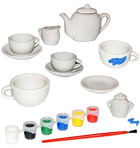 Bastelset: 13 tlg. Set _ Puppengeschirr / Spielzeuggeschirr - weiß - zum selbst Bemalen - Keramik /...