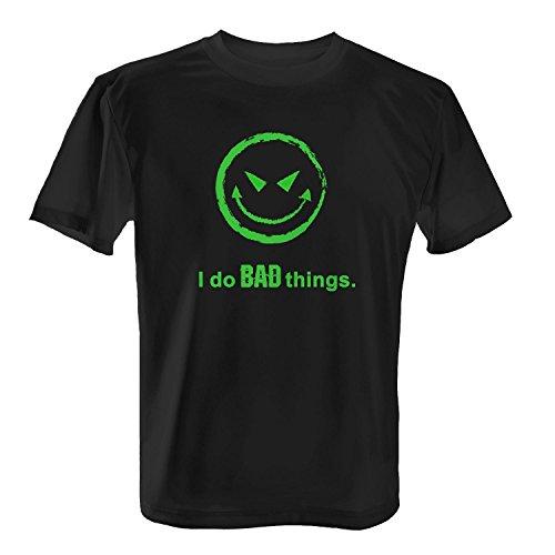 Fashionalarm Herren T-Shirt - I Do Bad Things Smiley   Fun & Spaß Shirt mit Spruch für Halloween Smilie Böse, Größe:4XL (Niedliche Halloween Shirt Sprüche)