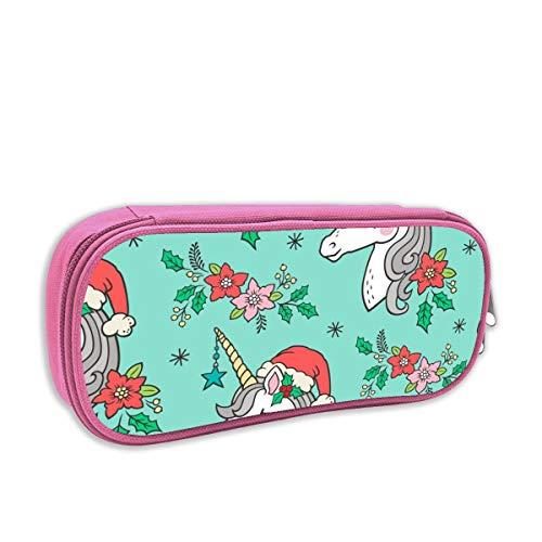 astuccio per bambini portatutto,Unicorno di Natale su menta verde 4 pollici_2639, rosa