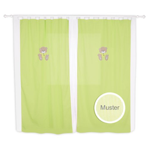 Kinderzimmer Gardinen / Vorhänge von Memi in 5 Farben erhältlich, ca. 140 x 230 cm, Farbe:Grün