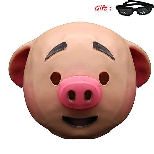 Kostüm Algen - Halloween Algen Schwein Maske, Tier Schwein Kopf Masken, Süße Kostüm Spielt Helm, Perücke Film Und Game Work Make-Up Requisiten,A