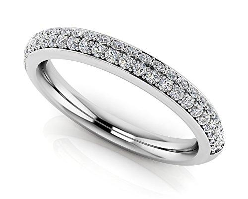 Oro bianco 14K abbagliante Two Row Diamond Band, Oro bianco, 9,5, cod. UKAMS203-B_W_0.38_4.75 - 5 Row Band Ring
