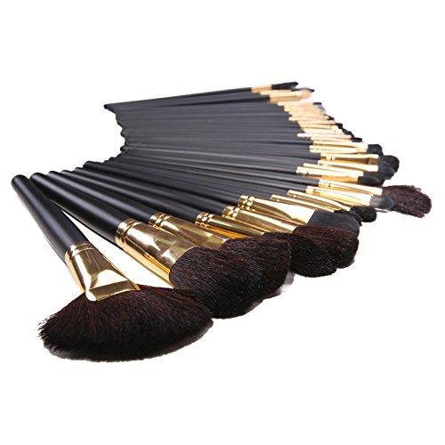 XUAN 32 laine or professionnelles longues ombres à paupières maquillage brosse avec manche en bois