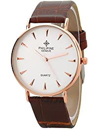 PHILIPINE Mens - Womens Analogue Rich Look Rose Gold Slim Case Brown Leather Strap Wrist Watch (PHI1314)