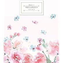 KLEESTERN® Liniertes Notizbuch (DIN A4, 80+ Seiten, Rand, Vintage Softcover, Blütenzauber - Lined Paper College Notebook, Liniertes Schreibheft, ... Papier, Mit Register/Inhaltsverzeichnis)
