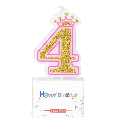 VIFERR Velas de Pastel, Bebés Niños Cumpleaños Vela Fiesta Corona Sin Humo Velas de Pastel Números para Niños de 0 a 8 Años (Design : 4)
