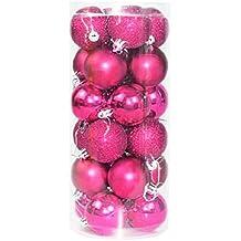 Bluelans® 24 Weihnachtskugeln Rosa glänzend glitzernd matt Christbaumschmuck bis Ø 4cm Baumschmuck Weihnachten Deko Anhänger