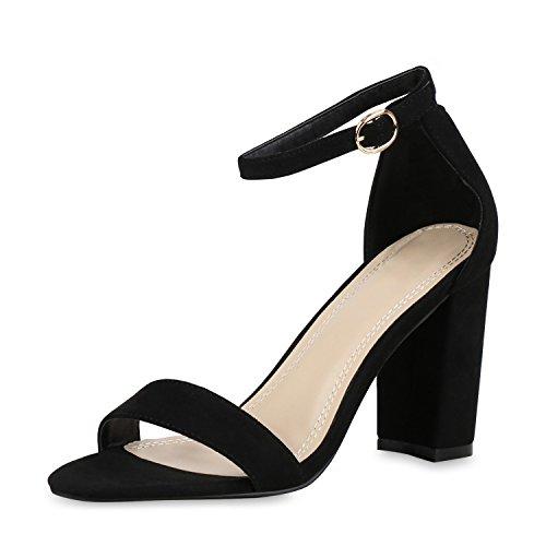 SCARPE VITA Damen Riemchensandaletten High Heels Sandaletten Basic Party Schuhe Wildleder-Optik Absatzschuhe 160806 Schwarz Schwarz 41