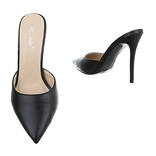 High Heel Damenschuhe Plateau Pfennig-/Stilettoabsatz High Heels Ital-Design Pumps Schwarz