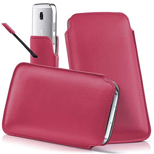 moex Wiko Lenny 3 | Hülle Pink Sleeve Slide Cover Ultra-Slim Schutzhülle Dünn Handyhülle für Wiko Lenny 3 Case Full Body Handytasche Kunst-Leder Tasche