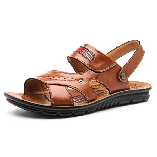 Men's High Quality Dual Use Leather Sandals Yellowish brown