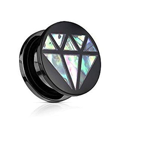 0GA (8mm) Abalone eingelegten Diamanten schwarz Acryl-Front Schraubenpassung Flesh Tunnel-Ohr-Ohr Ohrring Ohrring (Anspruchsvolle Katze Kostüm)