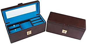 uberlyfe MDF Board Leatherette and Velvet Jewellery Box with Mirror and 1 Clasp Lock (Chocolate Brown with Electric Blue)