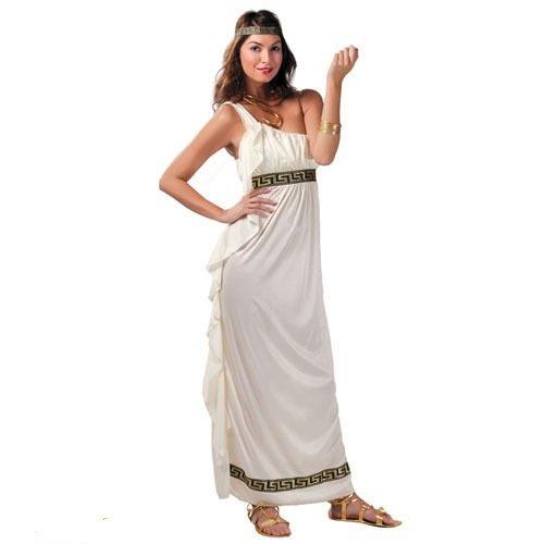 leid zum Griechen Kostüm für Damen M - L, Größe:L (Weiße Griechische Göttin Kleid)