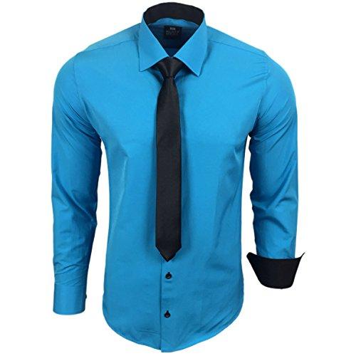 Rusty Neal R-44-KR Herren Kontrast Hemd Business Hemden mit Krawatte Hochzeit Freizeit Fit Türkis