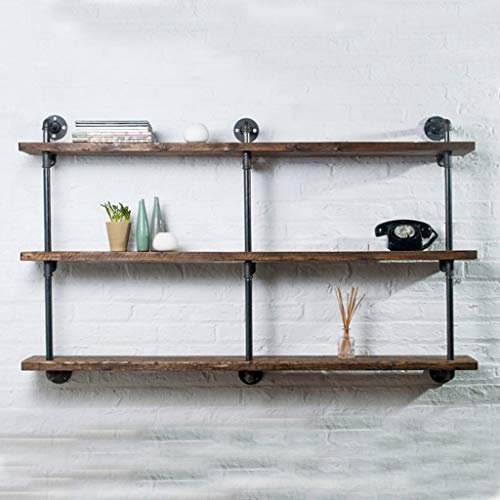 3 Tier Industrie Wandhalterung Eisen Rohr Regal Hang Bracket DIY Lagerung schwebende Regale Bücherregal, rustikale Massive Kiefer Regal Wand Dekor Rack Regal Halterungen -