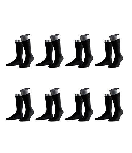 FALKE Herren Business-Socken Swing 14633 8 Paar, Farbe:Schwarz;Sockengröße:43-46;Artikel:-3000 black Herren Swing